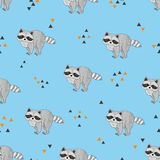 Seamless pattern with cute raccoons and triangles. Vector background Stock Image