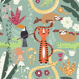 Seamless pattern with cute rain forest animals, tiger, snake, sloth. Vector illustration Stock Photos