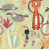 Seamless pattern with cute rain forest animals, tiger, snake, sloth Stock Photos