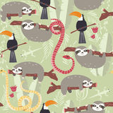 Seamless pattern with cute rain forest animals, toucan, snake, sloth Stock Photos