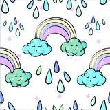 Seamless pattern Cute Rainbow Clouds Sun Raining drops Pastel Spring Vector Illustration. Seamless pattern Cute Rainbow Clouds Sun Raining drops Pastel Spring Stock Photo