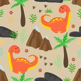 Seamless pattern with cute red dinosaur and mountains - vector illustration, eps vector illustration
