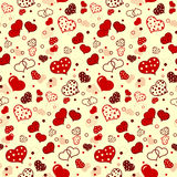 Seamless pattern with cute red  hearts Royalty Free Stock Images