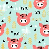 Kids seamless background with red pigs vector illustration