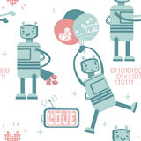 Seamless pattern with cute robot in love Royalty Free Stock Photography