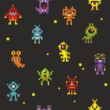Seamless pattern with cute robots in retro style. Vector 8 bit design monsters stock illustration
