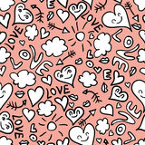Seamless pattern with romantic doodles Royalty Free Stock Photography