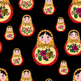 Seamless pattern cute russian doll mtryoshka Royalty Free Stock Photo