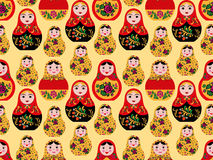Seamless pattern with cute russian dolls Royalty Free Stock Image
