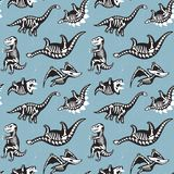 Seamless pattern with cute scary silhouettes of dinosaurs with a skeleton. Halloween Holidays blue background. Seamless pattern with cute cartoon silhouettes of Royalty Free Stock Image