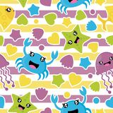 Seamless pattern of cute sea animals, stars, and love on striped background vector cartoon illustration for birthday wrapping pape. R, fabric clothes, and Stock Photography