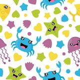 Seamless pattern of cute sea animals on white background  cartoon for kid wrapping paper Stock Images