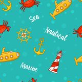 Seamless pattern with cute sea life. ocean and blue sea. nature, wildlife. engraved hand drawn. mammal marine. anchor. And ship, lighthouse and submarine and Royalty Free Stock Photography