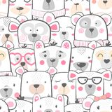 Seamless pattern - cute set bear. vector illustration
