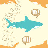 Seamless Pattern with cute sharks. vector illustration
