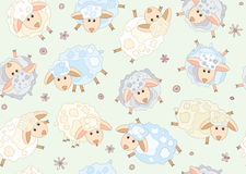 Seamless pattern of cute sheep Royalty Free Stock Images