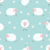Seamless pattern with cute sheep on blue Stock Photo