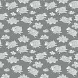 Seamless pattern with cute sheep and clouds. Stock Image