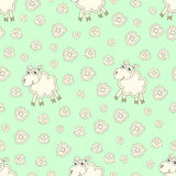 Seamless pattern with cute sheep and flowers Stock Photo