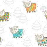 Seamless pattern with cute sheep in knitted sweaters Stock Photography