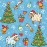 Seamless pattern with cute sheep Stock Photo