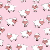 Seamless Pattern with Cute Sheep. Pink background with sheep illustration. Seamless pattern Royalty Free Stock Images