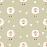 Seamless pattern with cute sheep. Stock Image