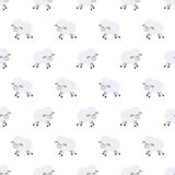Seamless pattern with cute sheep. Vector background for kids. Cartoon style. Childrens doodle. Babyhood. Newborn. Vector Stock Photos