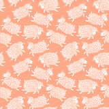 Seamless pattern with cute sheep. Royalty Free Stock Images