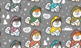 Husky puppies in colorful raincoats vector endless background. Seamless pattern with cute siberian husky puppies in colorful raincoats. Different breeds of dogs Royalty Free Stock Images
