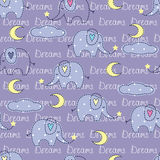 Seamless pattern with cute sleeping elephants Royalty Free Stock Image
