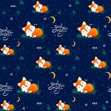 Seamless pattern with cute sleeping fox and moons, stars, lettering quote Good night. Vector illustration vector illustration