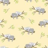 Seamless pattern with cute sleeping koala bears Stock Photos