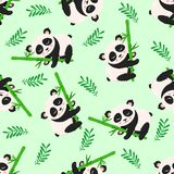 Seamless pattern with panda and bamboo - vector illustration, eps royalty free illustration
