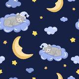 Seamless pattern with cute sleeping teddy bear, clouds, stars and moon. Stock Photos