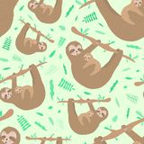 Seamless pattern of cute sloth hugs a baby. Hand-drawn illustration for kids, tropical summer, textile, print, cover, wallpaper, vector illustration