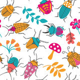 Seamless pattern with cute small beetles and plants. Royalty Free Stock Image
