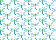 Seamless pattern with cute  smile dragonfly. Endless background. Royalty Free Stock Photography