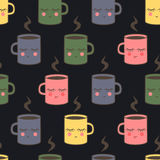 Seamless pattern with cute smiling sleeping cups. Cute baby shower vector mug background. Royalty Free Stock Image