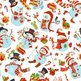 Seamless pattern of cute snowmen. Vector cartoon snowmen on white background. Snowman is skating. Snowman is skiing. Snowman is singing. Candy canes, gifts Royalty Free Stock Photo