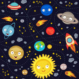 Seamless pattern cute solar system Stock Image