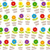 Seamless pattern Cute spring colorful flowers in pots, Isolated on white background. Vector royalty free illustration