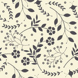 Seamless pattern with cute spring flowers, leaves and decorative Stock Images