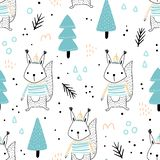 Seamless pattern with cute squirrel royalty free illustration