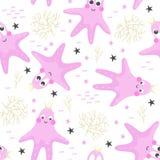 Seamless pattern with cute starfish princess Royalty Free Stock Photo