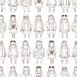 Seamless pattern with cute steampunk pilots Stock Photos