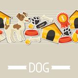 Seamless pattern with cute sticker dogs, icons and Stock Photos
