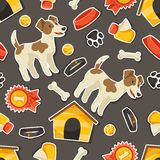 Seamless pattern with cute sticker dogs, icons and Royalty Free Stock Photo
