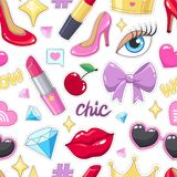 Seamless pattern with cute stickers illustrations Royalty Free Stock Images