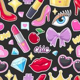 Seamless pattern with cute stickers illustrations Stock Images